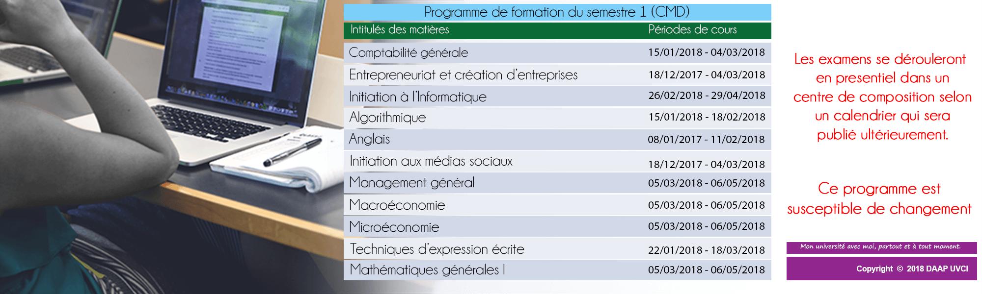 PROGRAMME DE FORMATION DU SEMESTRE 1 - CMD