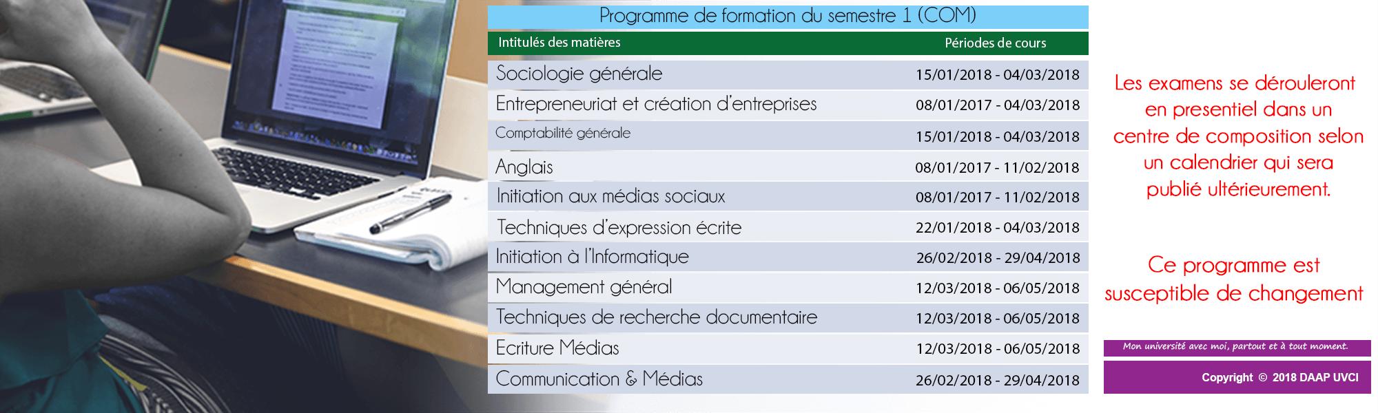 PROGRAMME DE FORMATION DU SEMESTRE 1 - COM