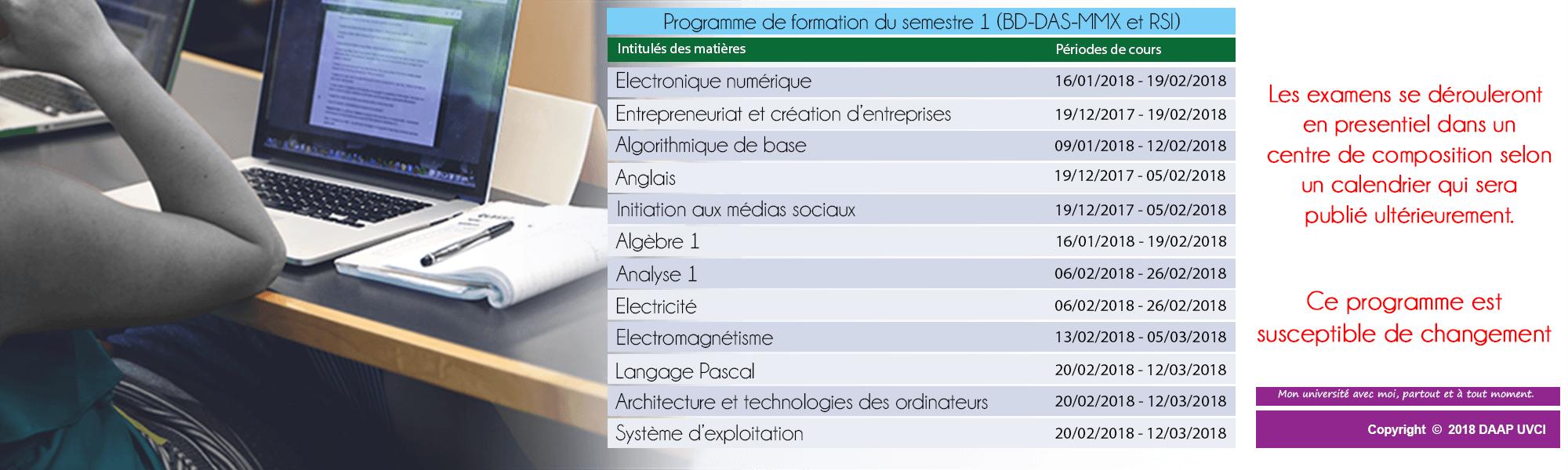 PROGRAMME DE FORMATION DU SEMESTRE 1