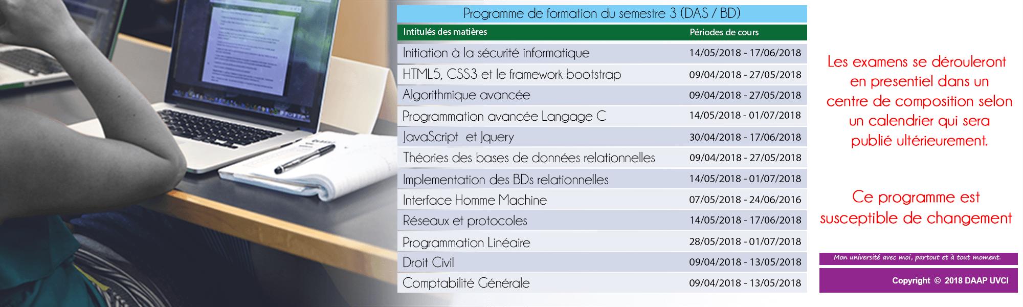 PROGRAMME DE FORMATION DU SEMESTRE 3 -BDA