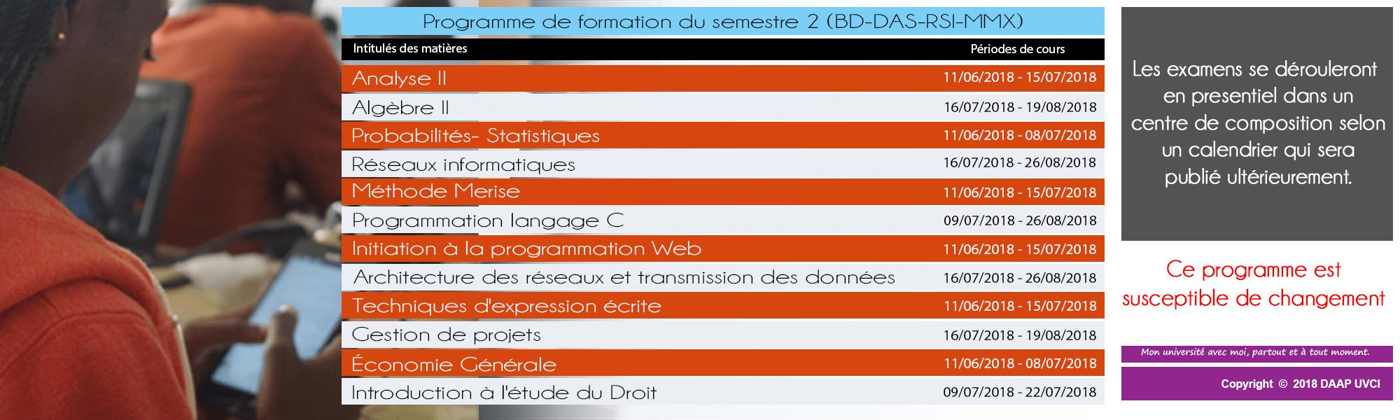 Programme Semestre 2 das-rsi-bd-mmx
